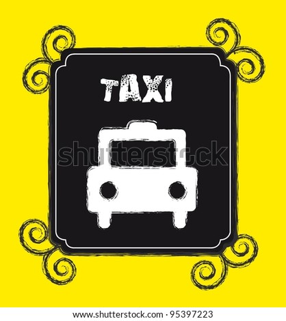 grunge taxi stamp over yellow background. vector illustration