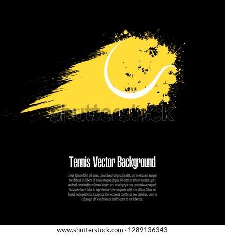Grunge tennis background. Abstract tennis ball made from blots. Tennis design pattern. Vector illustration