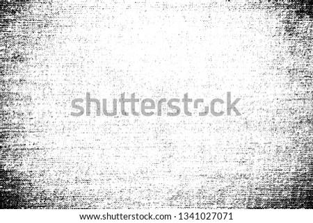 Grunge texture cotton fabric with vignetting and halftone. Monochrome background of the old coarse cloth with the noise, dotted line, dots and grit.  Overlay template. Vector illustration Stockfoto ©
