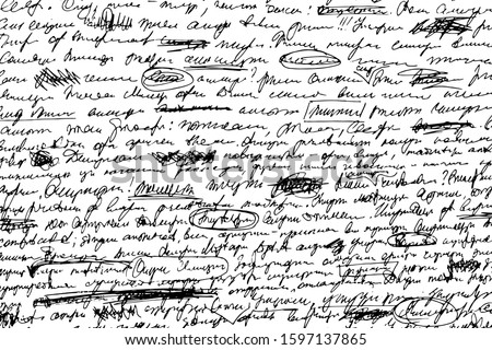 Grunge texture illegible hand-written draft. Monochrome background ink-written unreadable notes with corrections, the deletions, underscores and uneven lines. Overlay template. Vector illustration Foto stock ©