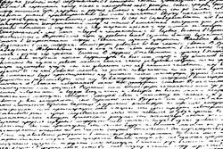 Grunge texture of illegible handwritten text. Abstract monochrome background of an old unreadable ink-written manuscript. Overlay template. Vector illustration