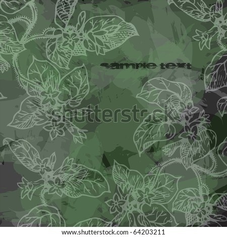 grunge texture with floral design and paint texture