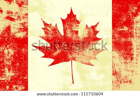 Grunge textured canadian flag. EPS10 vector illustration. Grunge effect can be cleaned easily.