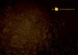 Grunge textured floral dark brown background.