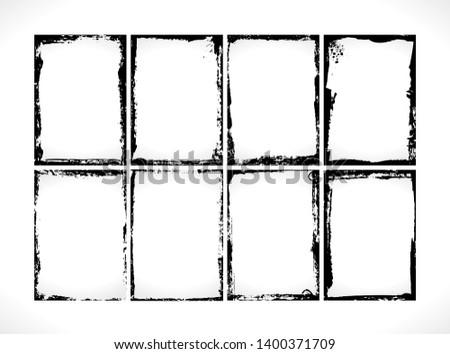 Grunge Textured Frames Collection. Vector design template. Set of vintage Photo frames