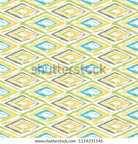Grunge textured rhombs seamless pattern design. Abstract geometric background