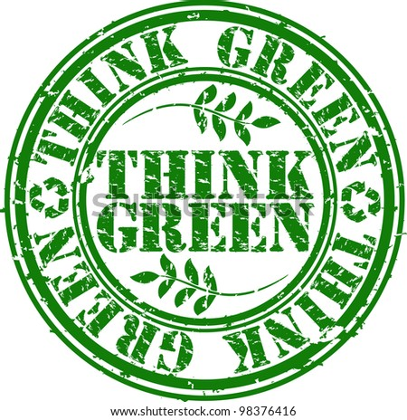 Grunge think green rubber stamp, vector illustration