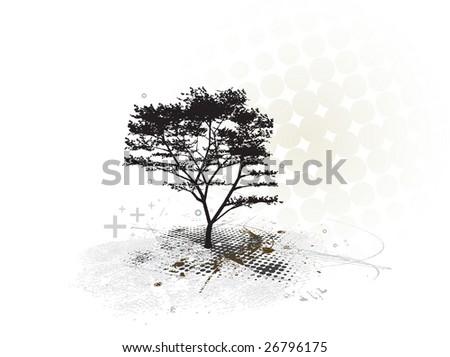 grunge tree frame with halftone background