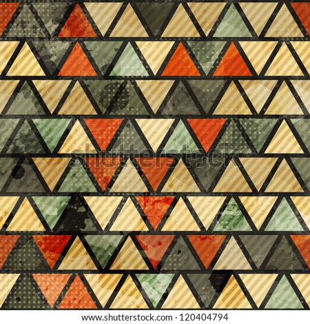 grunge triangle seamless pattern - stock vector