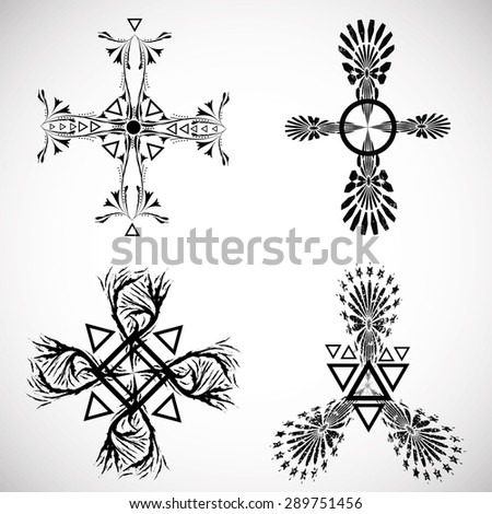 Grunge Tribal Tattoo Elements Collection. Aztec Style. Native American Symbols. Hipster Symbols isolated on White Background.  Vector Illustration.