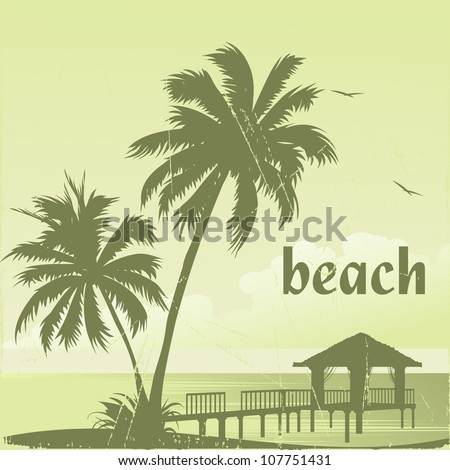 Stock Photo grunge tropic beach palms and pier