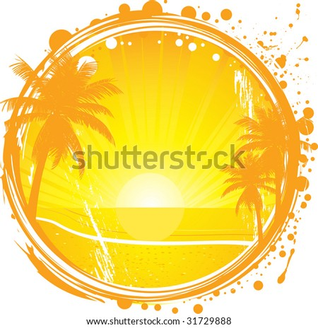 grunge tropical background with palm trees