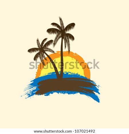 Grunge tropical background with palms and sun. vector illustration