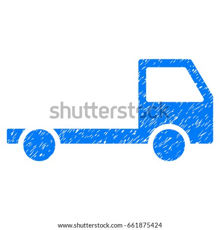 Grunge Truck Chassis icon with grunge design and dust texture. Unclean vector blue pictogram for rubber seal stamp imitations and watermarks. Draft emblem symbol.