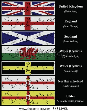 grunge type flags of the united