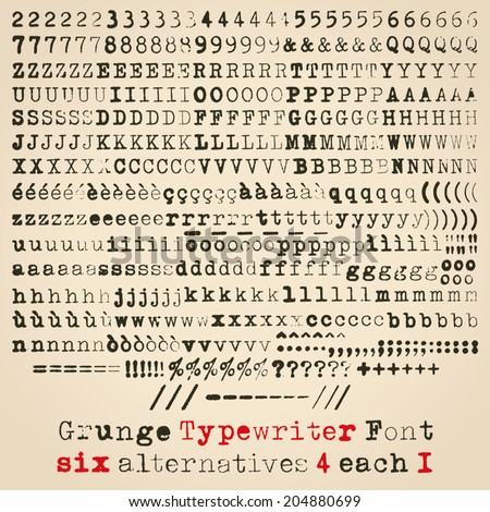 Grunge typewriter font. Six alternatives for each glyph