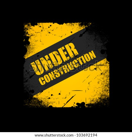Grunge Under construction texture background, vector illustration