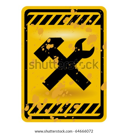 Grunge under construction warning sign isolated over white