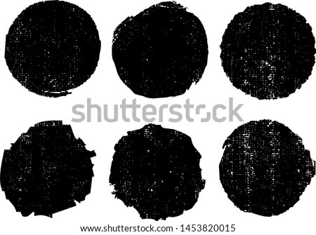 Grunge Uneven Stamps Collection. Can be used as  Banners, Insignias or Badges. Vector Distressed Textures Set. Blank Handdrawn Shapes. Vector Illustration. Black isolated on white. EPS10.