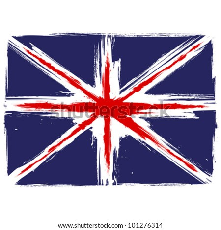 Grunge Union Jack flag over white background - stock vector