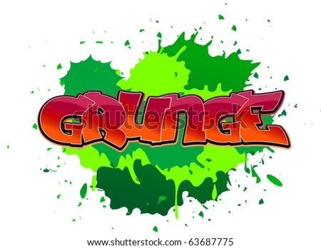 Grunge urban graffiti design on blobs background. Jpeg version also available in gallery