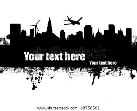 Grunge urban poster on black and white,vector illustration