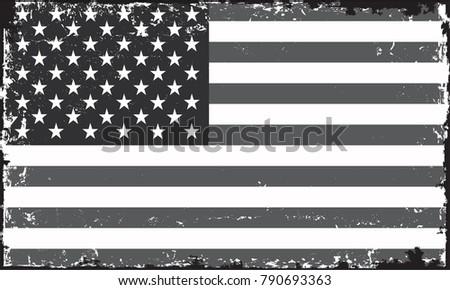Grunge USA flag.American flag.Vector template. #790693363