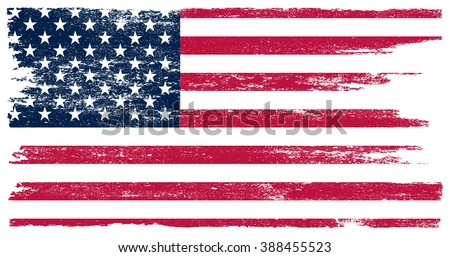 Grunge USA flag. American flag with grunge texture. Vector flag of USA. #388455523