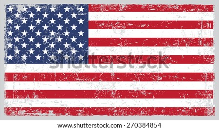 Grunge USA flag.American flag with grunge texture.Vector template.