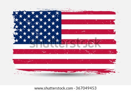 Grunge USA flag.American flag with grunge texture.Vector template. #367049453
