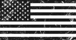 Grunge USA flag. Original proportions, black and white version.