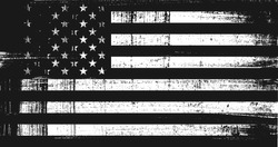 Grunge USA flag. Original proportions, black and white version.