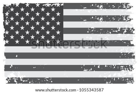 Grunge USA flag.Vector flag of America. #1055343587