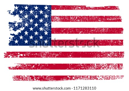 Grunge USA flag.Vintage American flag.Vector. #1171283110
