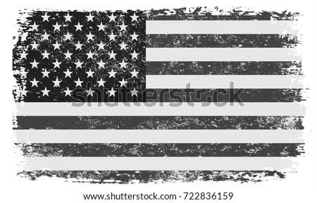 Grunge USA flag. Vintage American flag. Vector black and white flag of United States.
