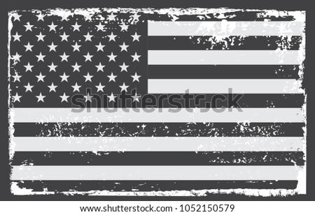 Grunge USA flag.Vintage American flag.Vector illustration. #1052150579