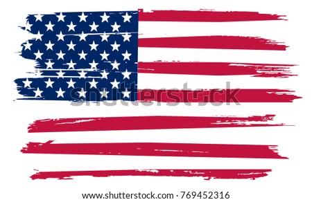 Grunge USA flag.Vintage flag of America. #769452316