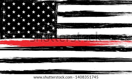 Grunge USA flag with a thin red line - a sign to honor and respect american firefighters Photo stock ©
