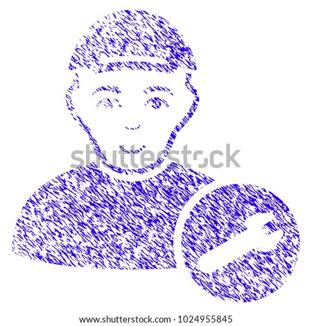 Grunge User Setup Wrench rubber seal stamp watermark. Icon symbol with grunge design and unclean texture. Unclean vector blue sticker user setup wrench.