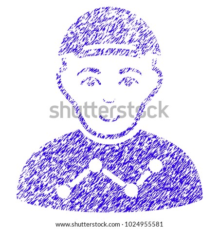 Grunge User Stats rubber seal stamp watermark. Icon symbol with grunge design and scratched texture. Unclean vector blue sign user stats.