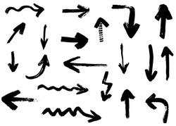 Grunge vector arrows. Dry brush strokes