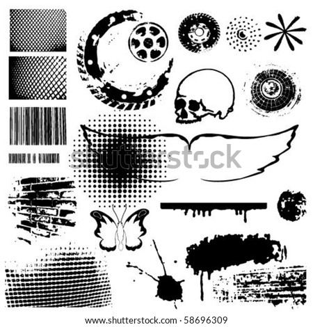 Grunge vector collection brushes blots points  wings  butterflies skull circle brushes.