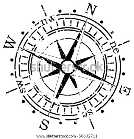 grunge vector compass - stock vector