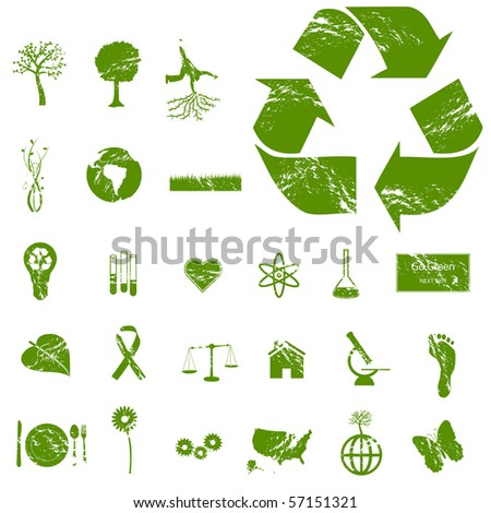 Grunge Vector Eco Icons