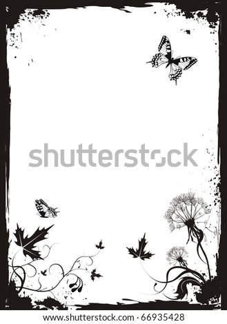 Grunge vector floral background with dandelions and butterflies