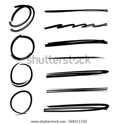 grunge vector frames, hand drawn circle frames, brush lines, underlines