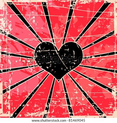 Grunge vector heart background
