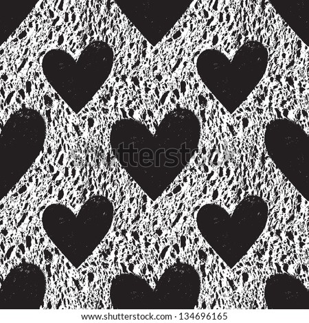 Grunge vector seamless texture with hearts. Heart background. Heart pattern. Love background. Love pattern. Seamless pattern. Retro texture. Vintage texture. Dark texture. Old pattern. Old texture
