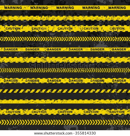 Grunge vector set of caution tapes on dark background. Illustration consists of