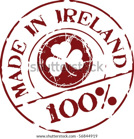 Grunge vector stamp with words Made in Ireland 100%